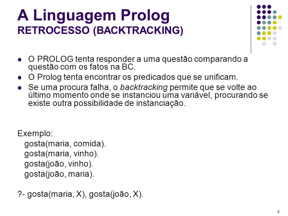 17 A Linguagem Prolog EXERCÍCIO: UNIFIQUE AS LISTAS ABAIXO LISTA 1LISTA2UNIFICAÇÃO [[a,b]|Y][H|T] [a,b][X,Y|Z] [[a,b],[c,d]][X,Y] [a][X|Y] [[Ana,Y]|Z][[X,foi],[ao_cinema]] [data(7,W,1993), hoje][data(7,X,Y),Z] [a,b,c,d][X,Y,Z] [X|[Y|Z]][a,b,c,d]