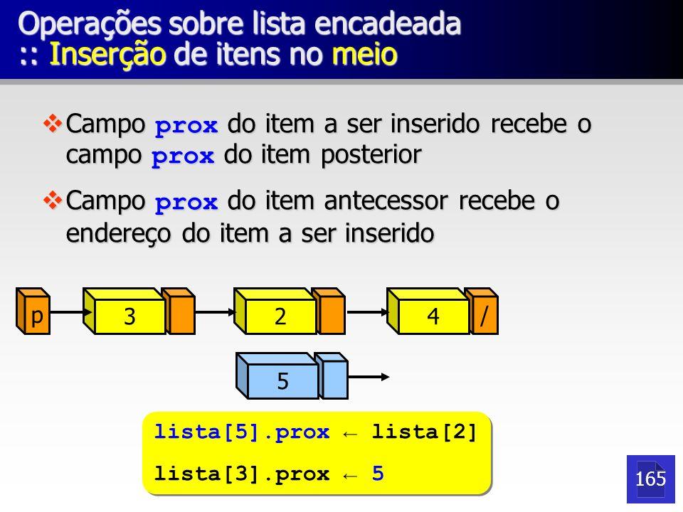 Operações sobre lista encadeada :: Inserção de itens no meio Campo prox do item a ser inserido recebe o campo prox do item posterior Campo prox do ite