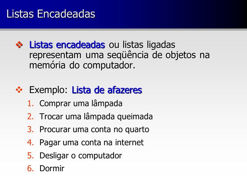 Listas Encadeadas Listas encadeadas ou listas ligadas representam uma seqüência de objetos na memória do computador. Listas encadeadas ou listas ligad