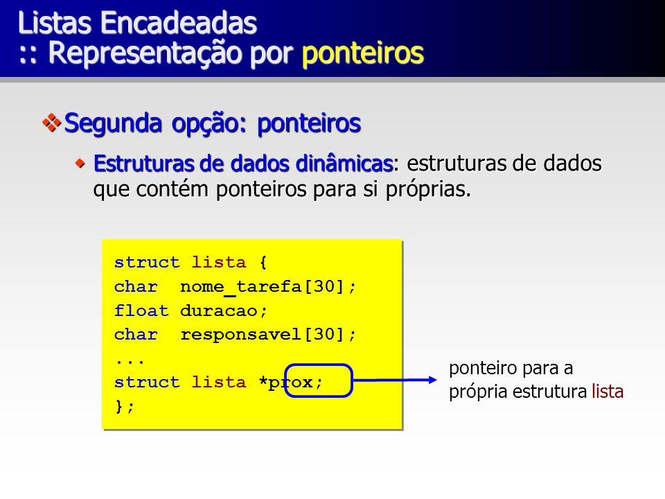 Listas Encadeadas :: Representação por ponteiros Segunda opção: ponteiros Segunda opção: ponteiros Estruturas de dados dinâmicas: estruturas de dados