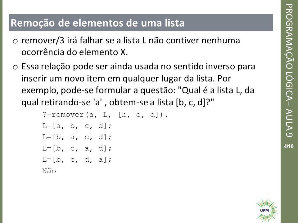 Clique para editar o estilo do título mestre PROGRAMAÇÃO LÓGICA– AULA 9 4/10 Remoção de elementos de uma lista o remover/3 irá falhar se a lista L não