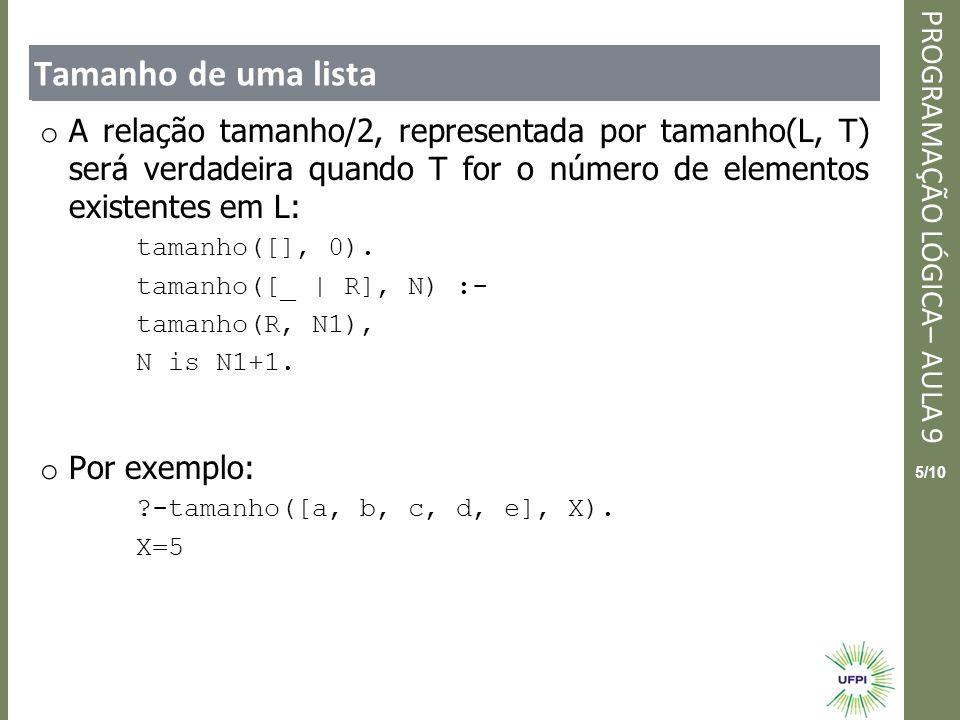 Clique para editar o estilo do título mestre PROGRAMAÇÃO LÓGICA– AULA 9 5/10 Tamanho de uma lista o A relação tamanho/2, representada por tamanho(L, T