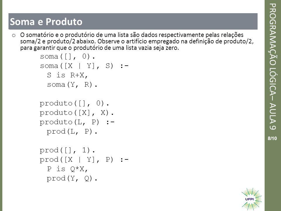 Clique para editar o estilo do título mestre PROGRAMAÇÃO LÓGICA– AULA 9 9/10 Soma e Produto o Exemplos dos predicados soma/2 e produto/2 são dados abaixo: o ?-soma([1, 2, 3, 4], X).