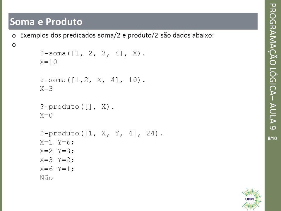 Clique para editar o estilo do título mestre PROGRAMAÇÃO LÓGICA– AULA 9 9/10 Soma e Produto o Exemplos dos predicados soma/2 e produto/2 são dados aba