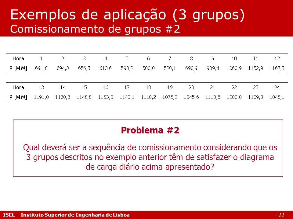 - 11 - Exemplos de aplicação (3 grupos) Comissionamento de grupos #2 ISEL – Instituto Superior de Engenharia de Lisboa Problema #2 Qual deverá ser a s