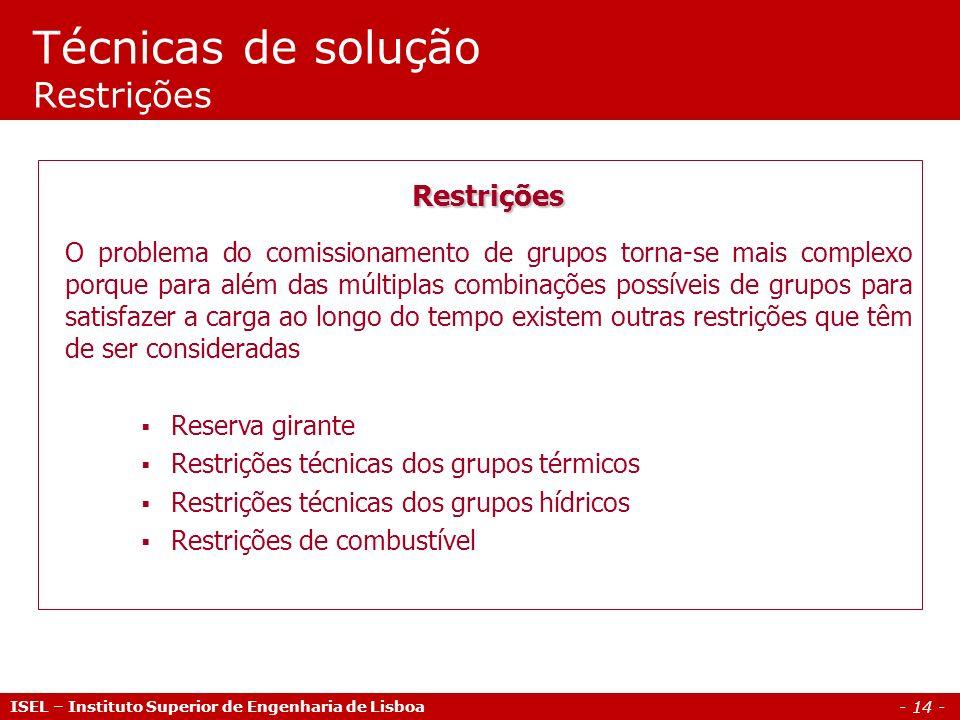 - 14 - Técnicas de solução Restrições ISEL – Instituto Superior de Engenharia de Lisboa Restrições O problema do comissionamento de grupos torna-se ma