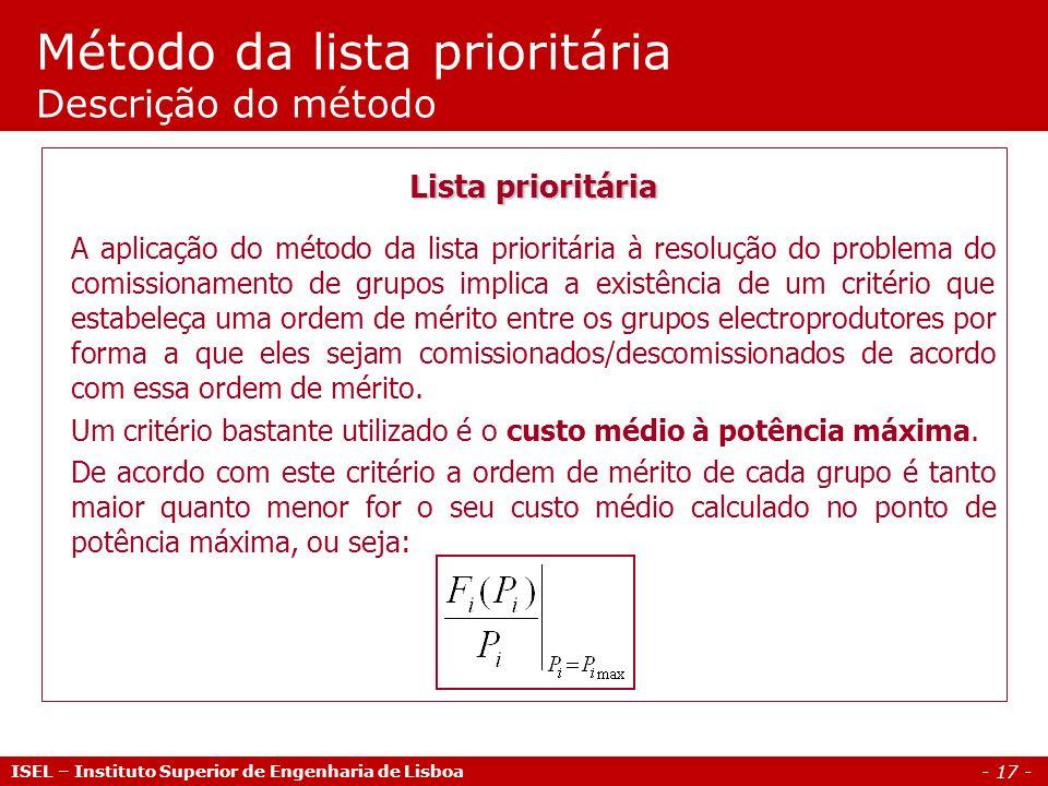 - 17 - Método da lista prioritária Descrição do método ISEL – Instituto Superior de Engenharia de Lisboa Lista prioritária A aplicação do método da li