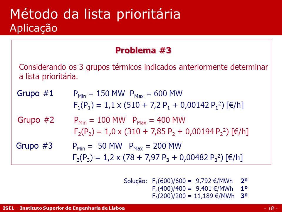 - 18 - Método da lista prioritária Aplicação ISEL – Instituto Superior de Engenharia de Lisboa Problema #3 Considerando os 3 grupos térmicos indicados
