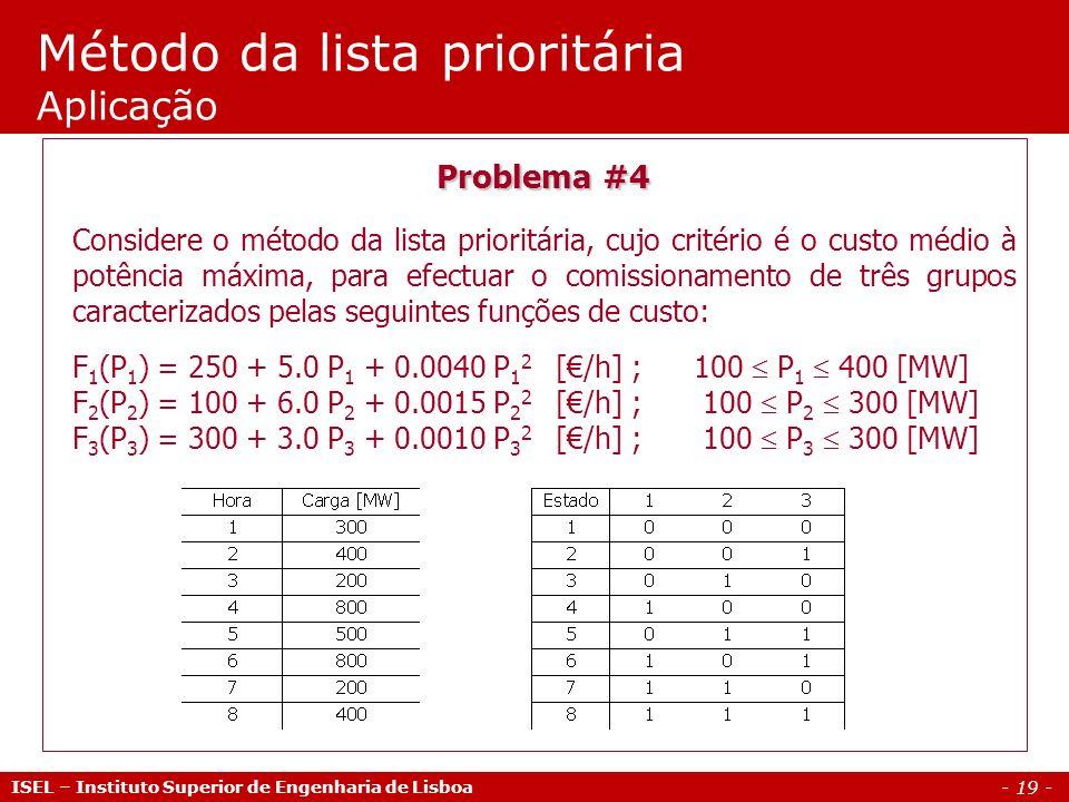 - 19 - Método da lista prioritária Aplicação ISEL – Instituto Superior de Engenharia de Lisboa Problema #4 Considere o método da lista prioritária, cu