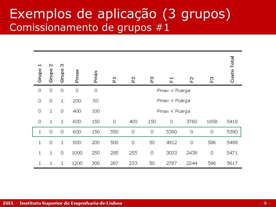 - 9 - Exemplos de aplicação (3 grupos) Comissionamento de grupos #1 ISEL – Instituto Superior de Engenharia de Lisboa