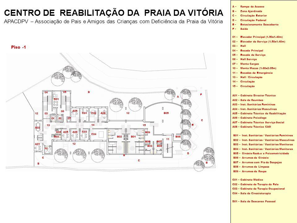 Piso 0 01 – 02 – 03 – 04 – 05 – 06 – 07– 10 – 11 – 16 – Elevador Principal (1.50x1.40m) Elevador Serviço (1.50x1.40m) Hall Escada Principal Escada de Serviço Hall Serviço Monta Cargas Monta Macas (1.60x2.05m) Escadas de Emergência Circulação A09 A13 A10 A11 A12 E08E10 E05E04 E09E01 E07E06 E02E03 E13 E12E11 D05 D06 D10 D06 D11 D02 D03D04 D08 D09 D07 05 04 10 01 06 02 03 11 07 16 B E B C D B A09 – A10 – A11 – A12 – A13 – Átrio Principal Serviços Administrativos Inst.