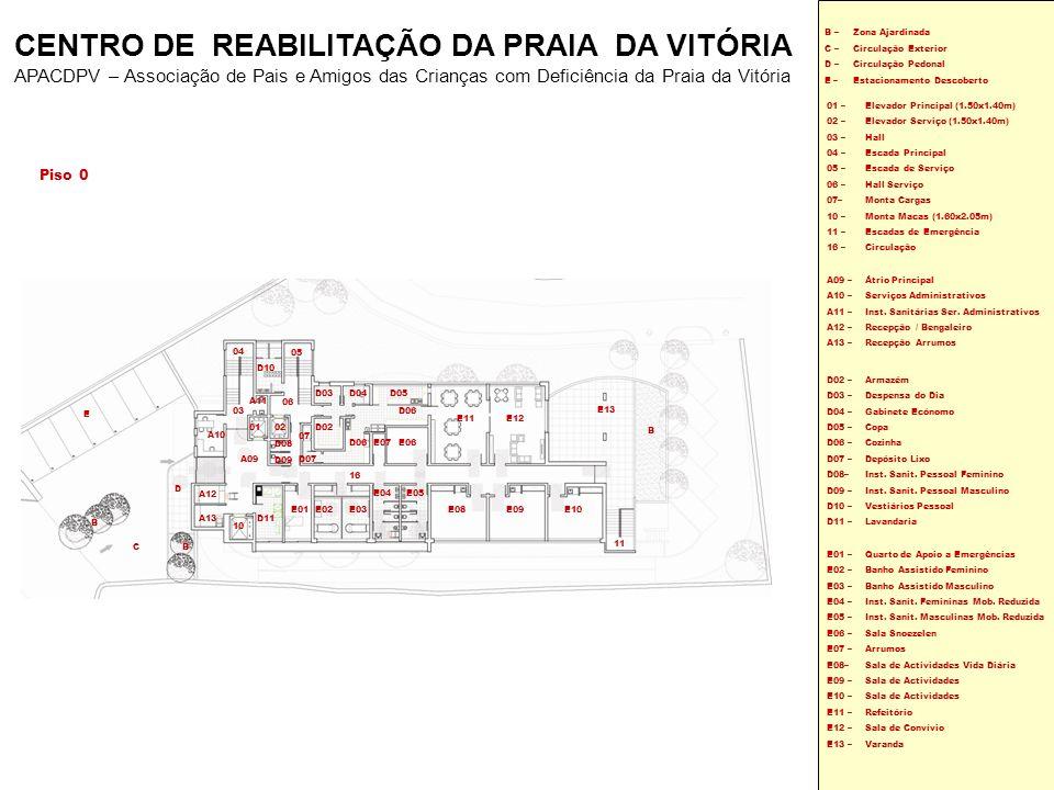 Piso 0 01 – 02 – 03 – 04 – 05 – 06 – 07– 10 – 11 – 16 – Elevador Principal (1.50x1.40m) Elevador Serviço (1.50x1.40m) Hall Escada Principal Escada de