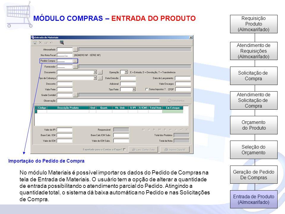 Requisição Produto (Almoxarifado) Atendimento de Requisições (Almoxarifado) Solicitação de Compra Atendimento de Solicitação de Compra Orçamento do Produto Seleção do Orçamento Geração de Pedido De Compras Entrada de Produto (Almoxarifado) MÓDULO COMPRAS – ENTRADA DO PRODUTO No módulo Materiais é possível importar os dados do Pedido de Compras na tela de Entrada de Materiais.