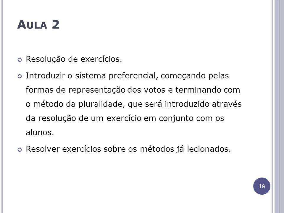 A ULA 2 Resolução de exercícios. Introduzir o sistema preferencial, começando pelas formas de representação dos votos e terminando com o método da plu