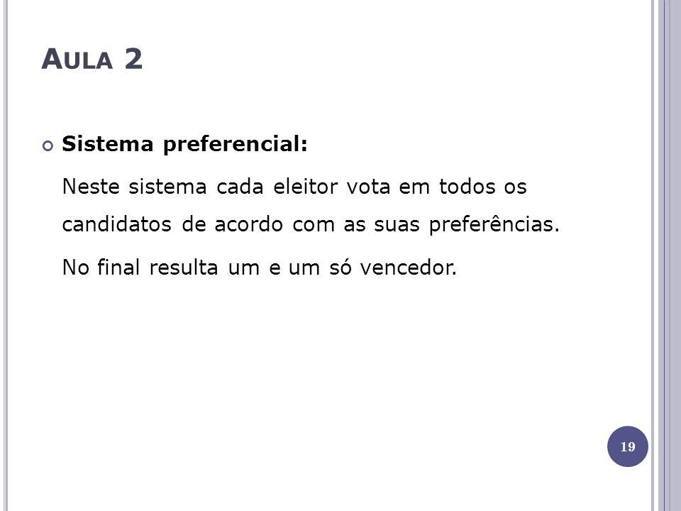 A ULA 2 Sistema preferencial: Neste sistema cada eleitor vota em todos os candidatos de acordo com as suas preferências. No final resulta um e um só v