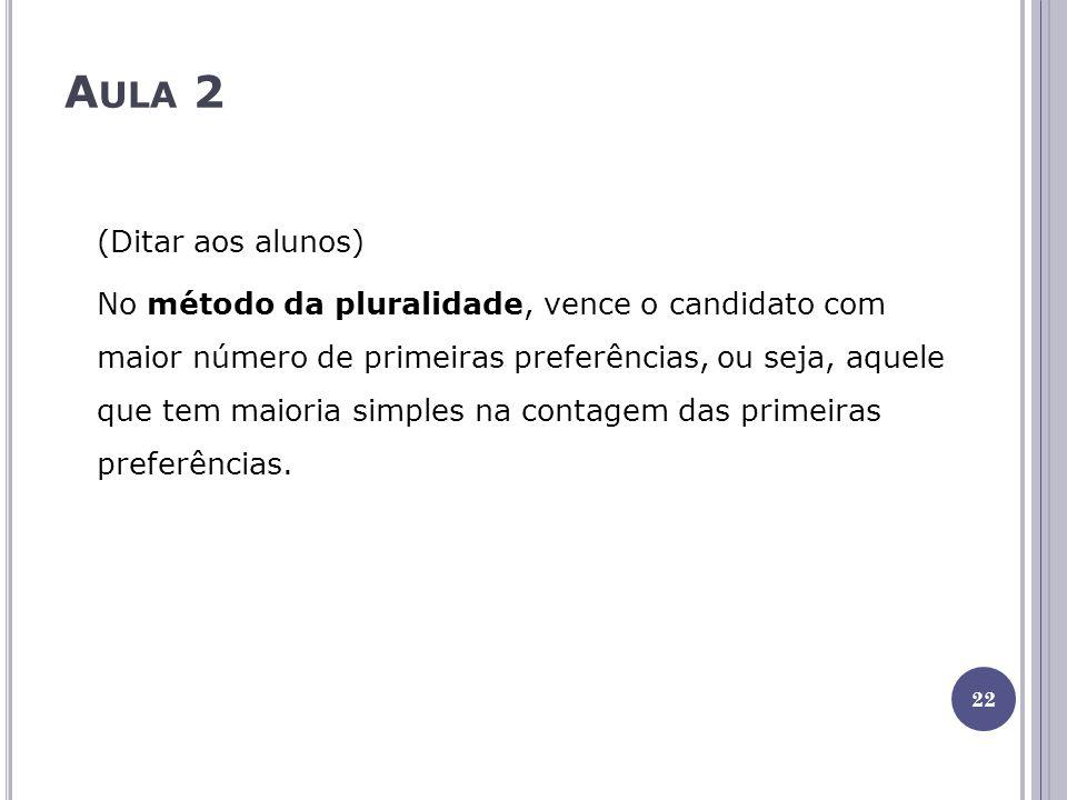 A ULA 2 (Ditar aos alunos) No método da pluralidade, vence o candidato com maior número de primeiras preferências, ou seja, aquele que tem maioria simples na contagem das primeiras preferências.
