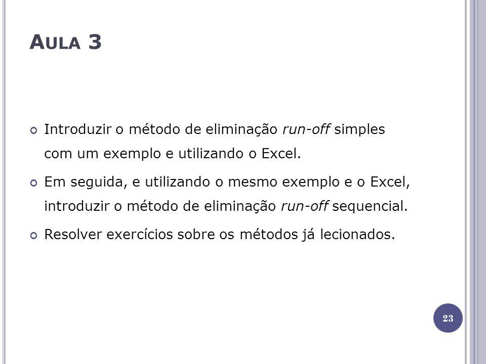 A ULA 3 Introduzir o método de eliminação run-off simples com um exemplo e utilizando o Excel. Em seguida, e utilizando o mesmo exemplo e o Excel, int