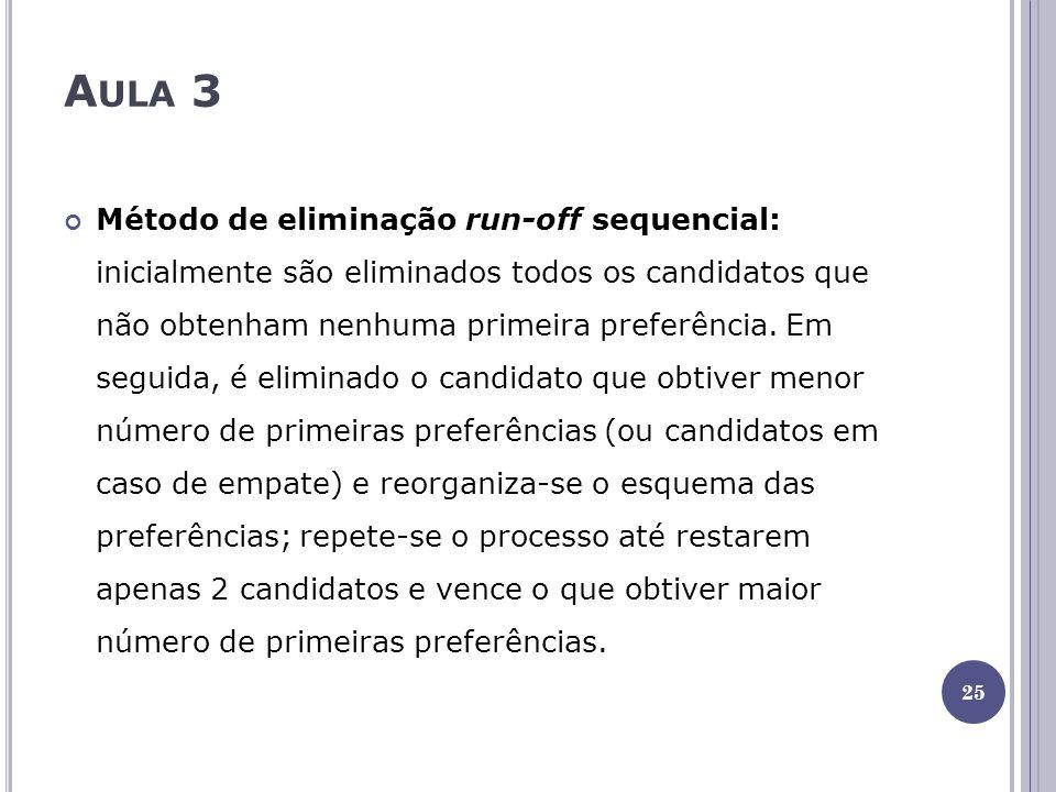 A ULA 3 Método de eliminação run-off sequencial: inicialmente são eliminados todos os candidatos que não obtenham nenhuma primeira preferência. Em seg