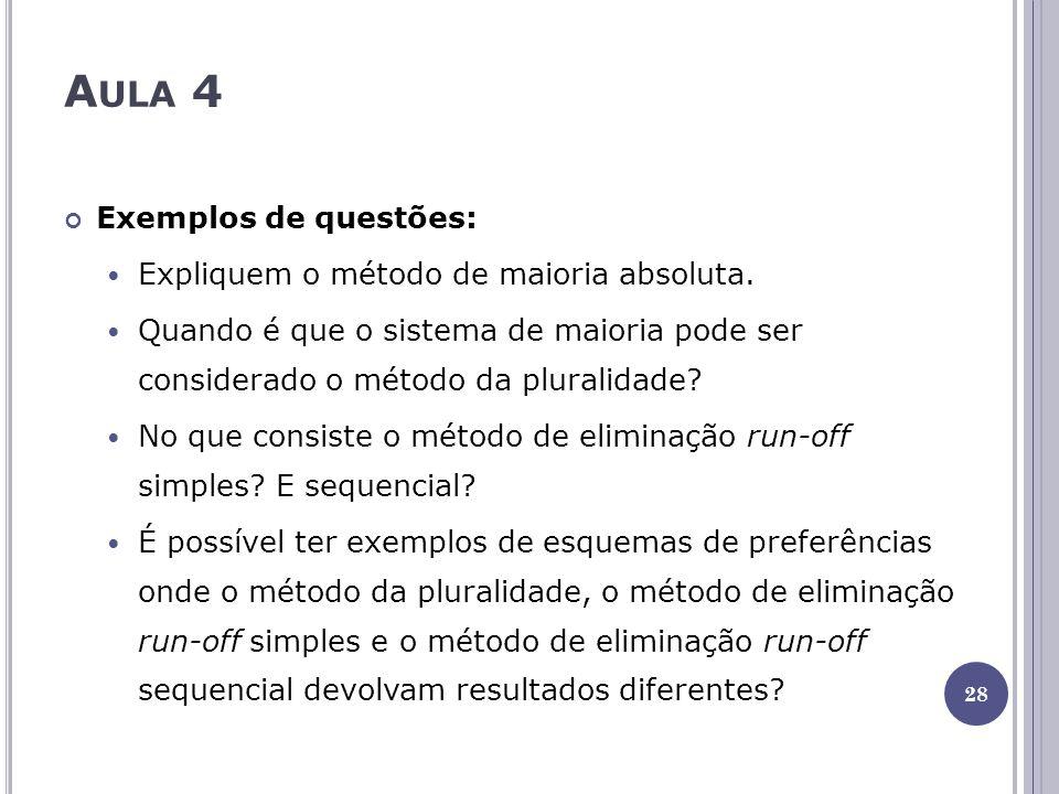 A ULA 4 Exemplos de questões: Expliquem o método de maioria absoluta. Quando é que o sistema de maioria pode ser considerado o método da pluralidade?