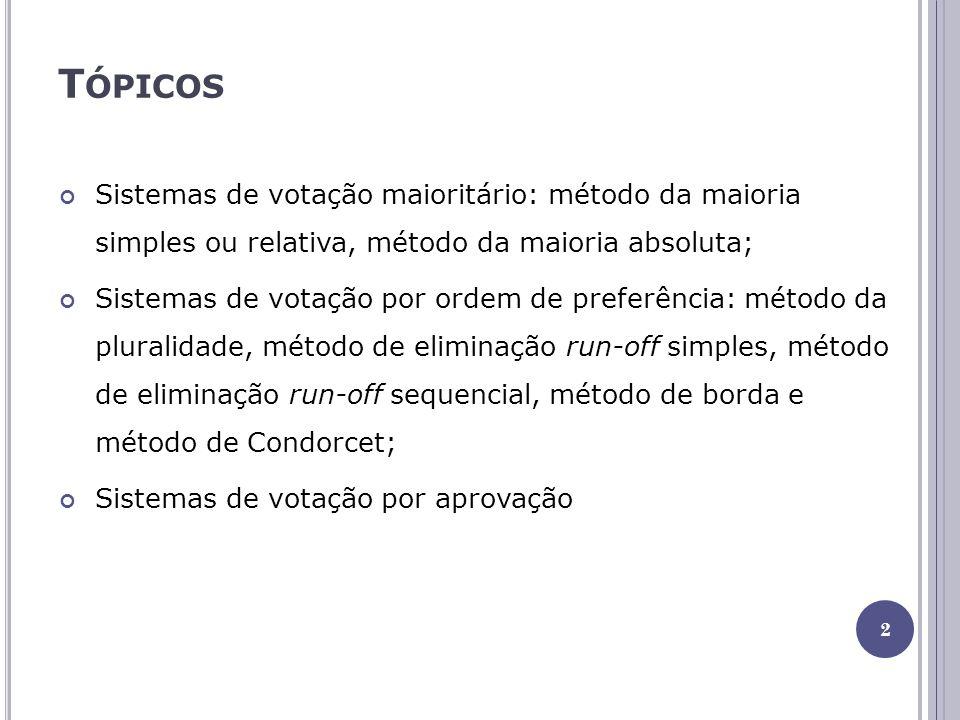 T ÓPICOS Sistemas de votação maioritário: método da maioria simples ou relativa, método da maioria absoluta; Sistemas de votação por ordem de preferência: método da pluralidade, método de eliminação run-off simples, método de eliminação run-off sequencial, método de borda e método de Condorcet; Sistemas de votação por aprovação 2