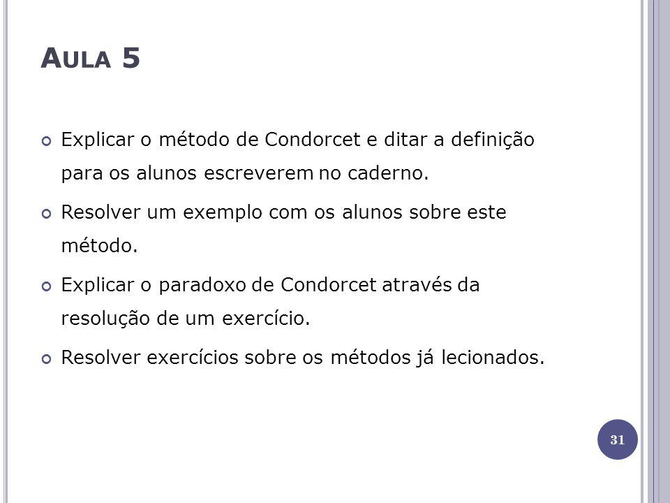 A ULA 5 Explicar o método de Condorcet e ditar a definição para os alunos escreverem no caderno.