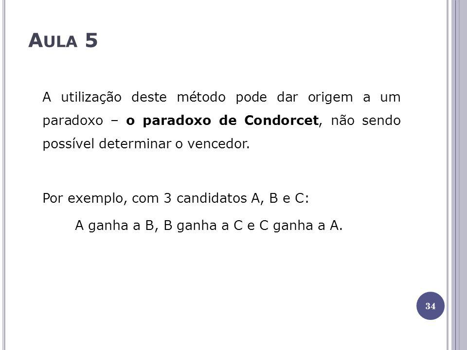 A ULA 5 A utilização deste método pode dar origem a um paradoxo – o paradoxo de Condorcet, não sendo possível determinar o vencedor. Por exemplo, com
