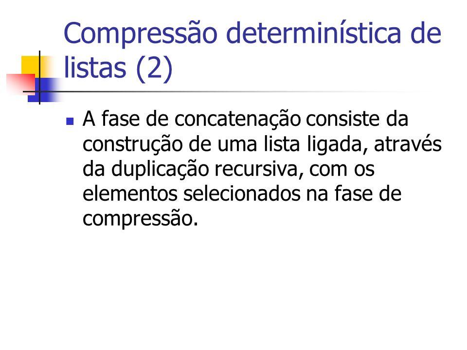 Compressão determinística de listas (2) A fase de concatenação consiste da construção de uma lista ligada, através da duplicação recursiva, com os elementos selecionados na fase de compressão.