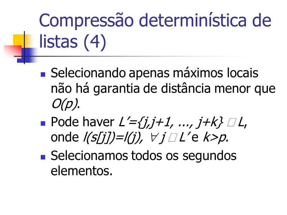 Compressão determinística de listas (4) Selecionando apenas máximos locais não há garantia de distância menor que O(p).