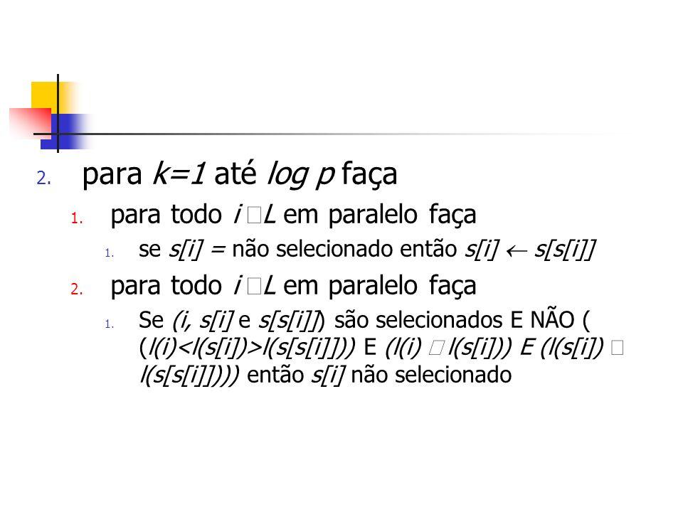 2. para k=1 até log p faça 1. para todo i L em paralelo faça 1.