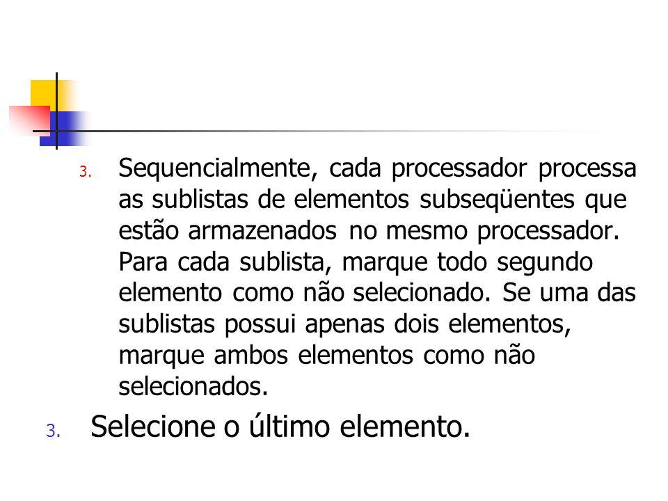 3. Sequencialmente, cada processador processa as sublistas de elementos subseqüentes que estão armazenados no mesmo processador. Para cada sublista, m