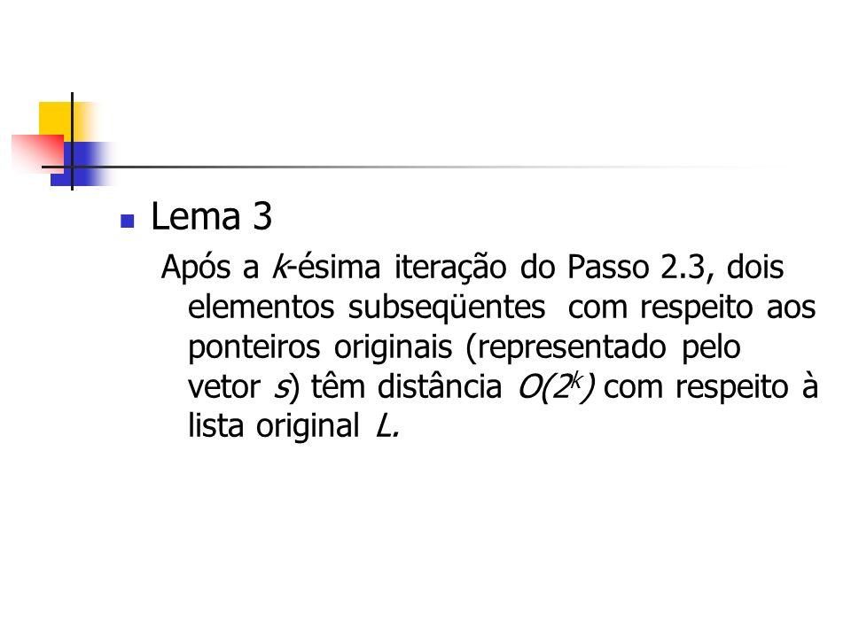 Lema 3 Após a k-ésima iteração do Passo 2.3, dois elementos subseqüentes com respeito aos ponteiros originais (representado pelo vetor s) têm distância O(2 k ) com respeito à lista original L.