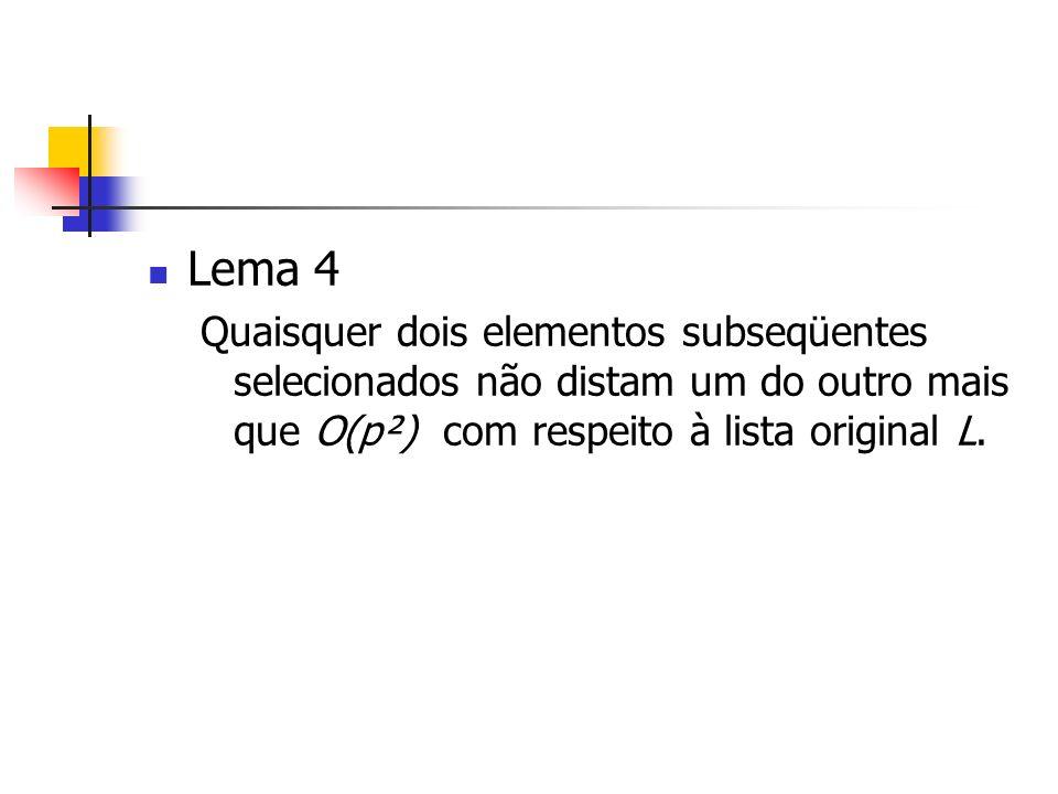 Lema 4 Quaisquer dois elementos subseqüentes selecionados não distam um do outro mais que O(p²) com respeito à lista original L.