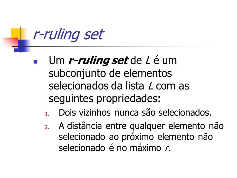 Um r-ruling set de L é um subconjunto de elementos selecionados da lista L com as seguintes propriedades: 1.