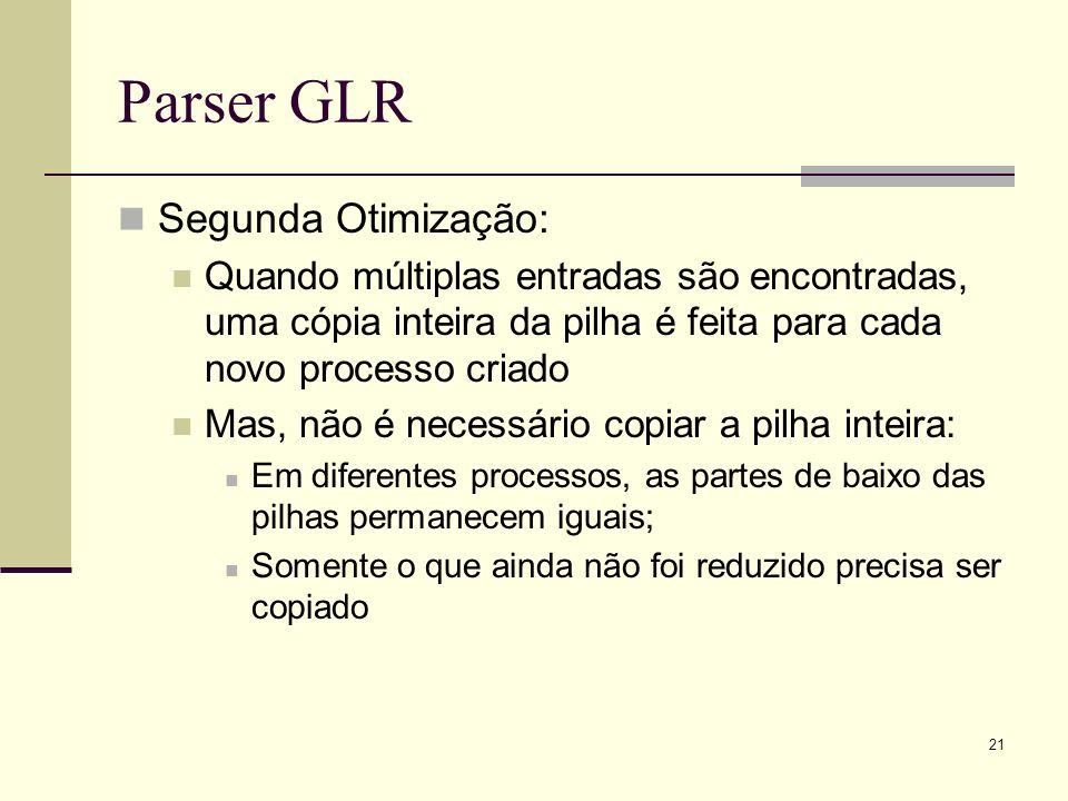 21 Parser GLR Segunda Otimização: Quando múltiplas entradas são encontradas, uma cópia inteira da pilha é feita para cada novo processo criado Mas, nã