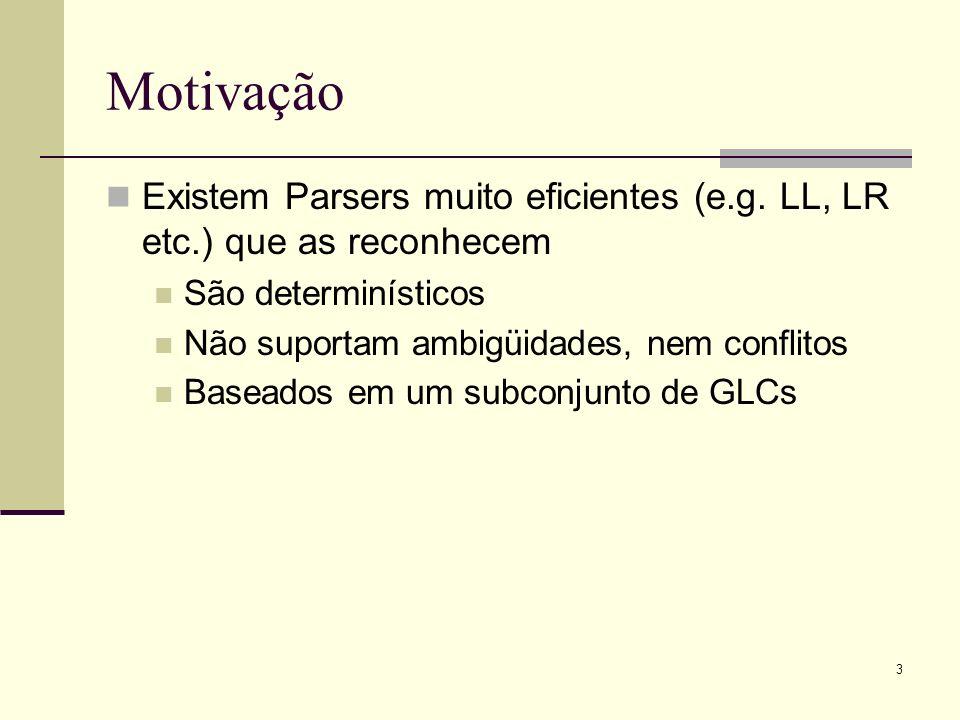 3 Motivação Existem Parsers muito eficientes (e.g. LL, LR etc.) que as reconhecem São determinísticos Não suportam ambigüidades, nem conflitos Baseado