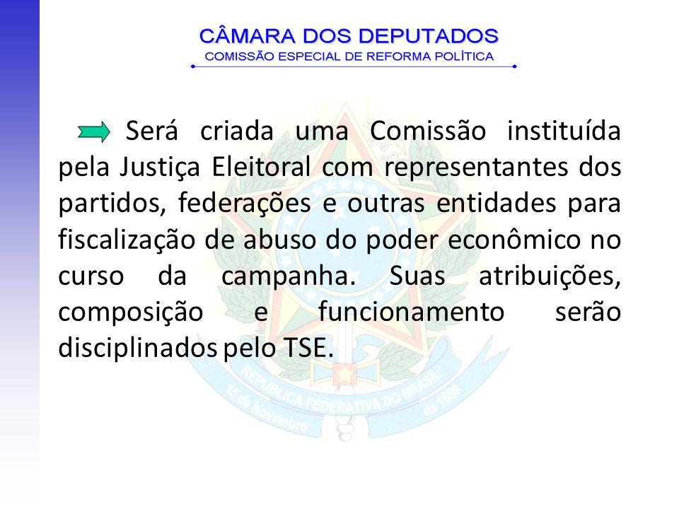 Será criada uma Comissão instituída pela Justiça Eleitoral com representantes dos partidos, federações e outras entidades para fiscalização de abuso d