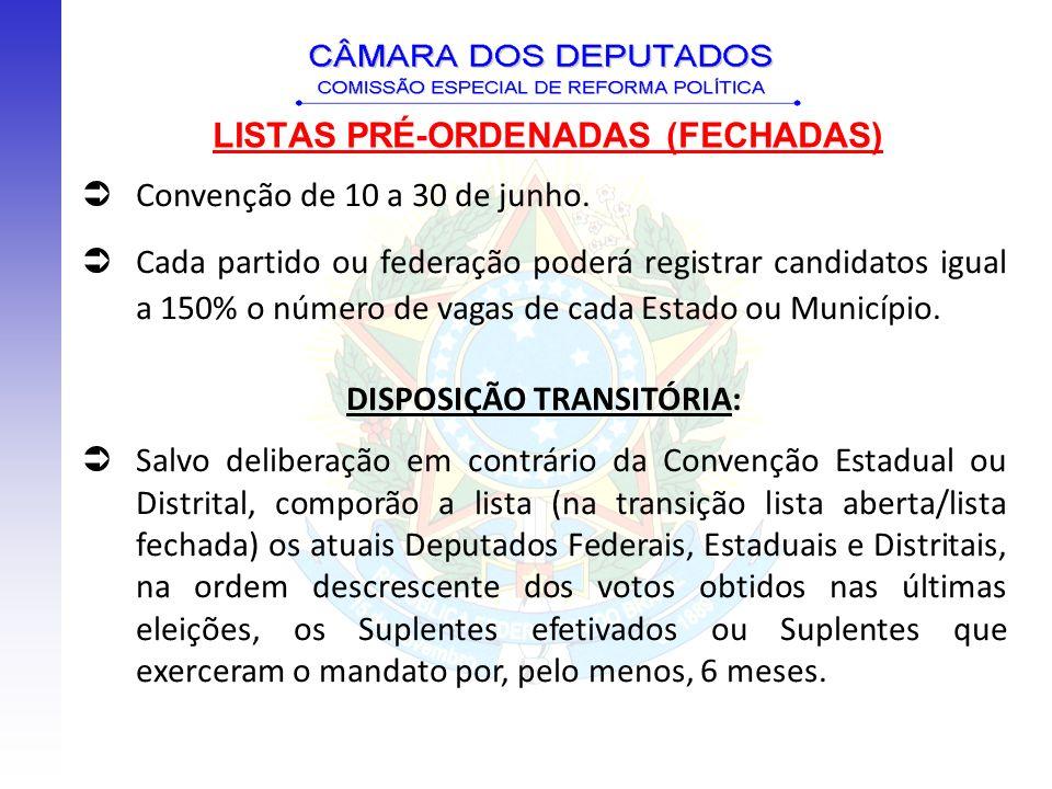 LISTAS PRÉ-ORDENADAS (FECHADAS) Convenção de 10 a 30 de junho. Cada partido ou federação poderá registrar candidatos igual a 150% o número de vagas de