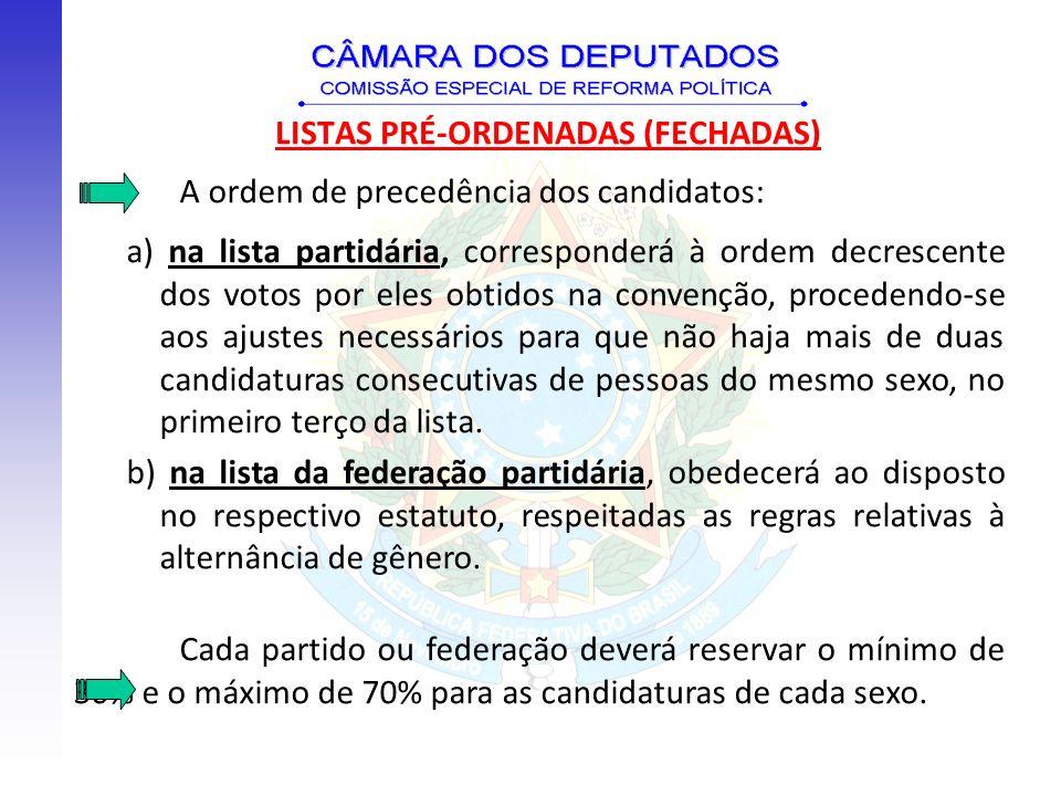 A ordem de precedência dos candidatos: a) na lista partidária, corresponderá à ordem decrescente dos votos por eles obtidos na convenção, procedendo-s