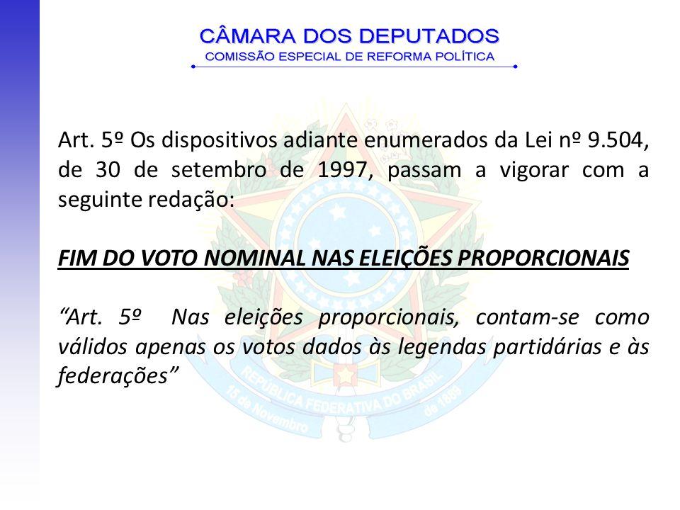 Art. 5º Os dispositivos adiante enumerados da Lei nº 9.504, de 30 de setembro de 1997, passam a vigorar com a seguinte redação: FIM DO VOTO NOMINAL NA