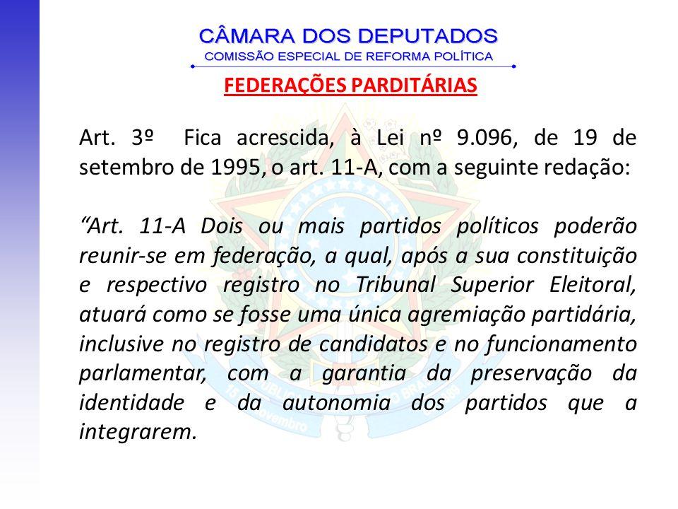 Art. 3º Fica acrescida, à Lei nº 9.096, de 19 de setembro de 1995, o art. 11-A, com a seguinte redação: Art. 11-A Dois ou mais partidos políticos pode