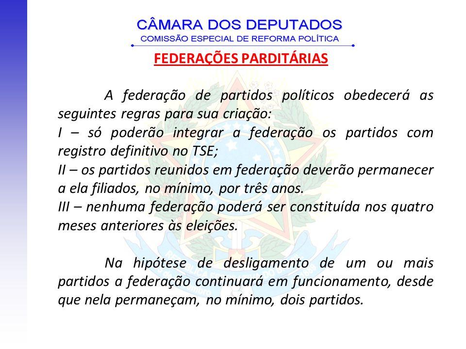 A federação de partidos políticos obedecerá as seguintes regras para sua criação: I – só poderão integrar a federação os partidos com registro definit