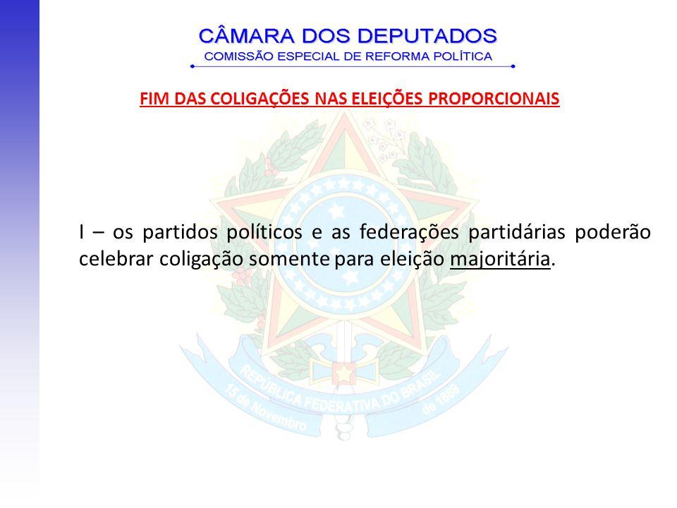 I – os partidos políticos e as federações partidárias poderão celebrar coligação somente para eleição majoritária. FIM DAS COLIGAÇÕES NAS ELEIÇÕES PRO