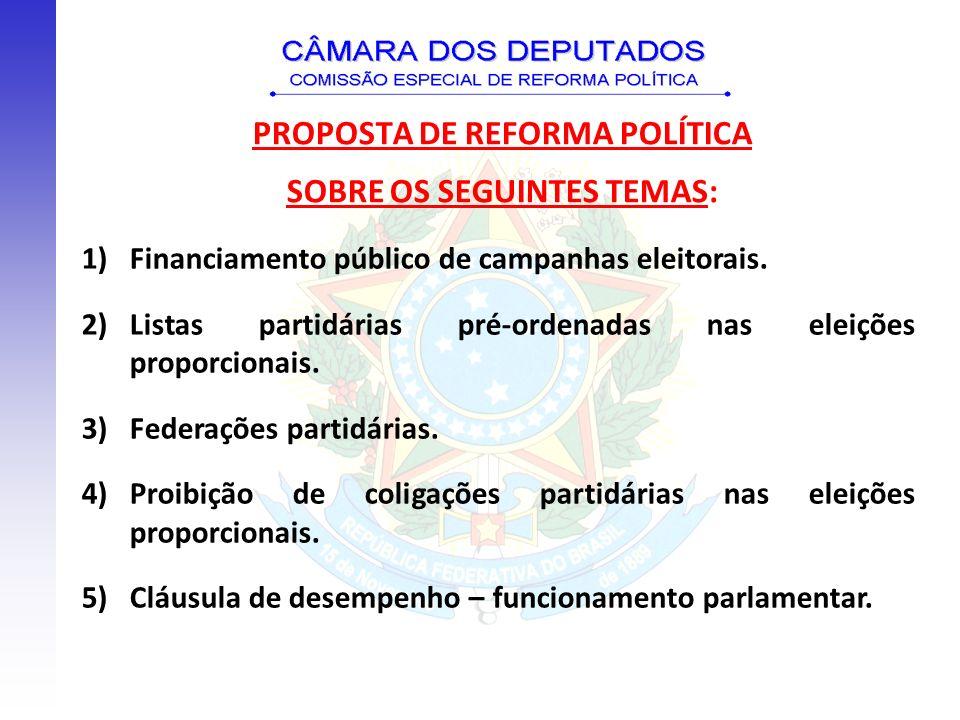 PROPOSTA DE REFORMA POLÍTICA SOBRE OS SEGUINTES TEMAS: 1)Financiamento público de campanhas eleitorais. 2)Listas partidárias pré-ordenadas nas eleiçõe