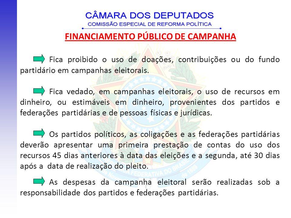 FINANCIAMENTO PÚBLICO DE CAMPANHA Fica proibido o uso de doações, contribuições ou do fundo partidário em campanhas eleitorais. Fica vedado, em campan