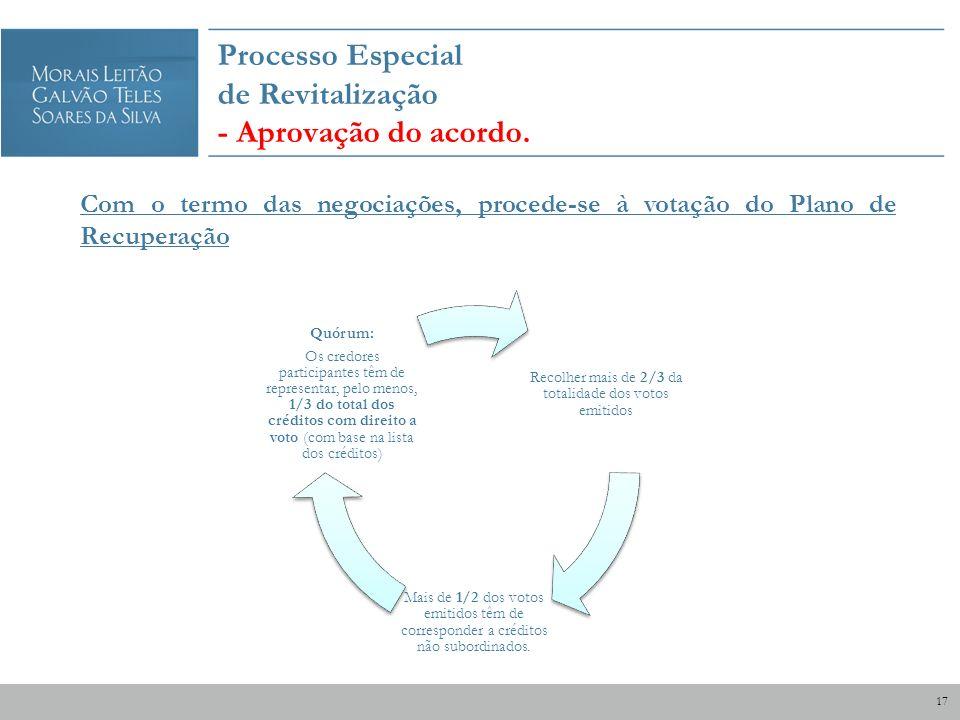 Processo Especial de Revitalização - Aprovação do acordo. Com o termo das negociações, procede-se à votação do Plano de Recuperação Recolher mais de 2