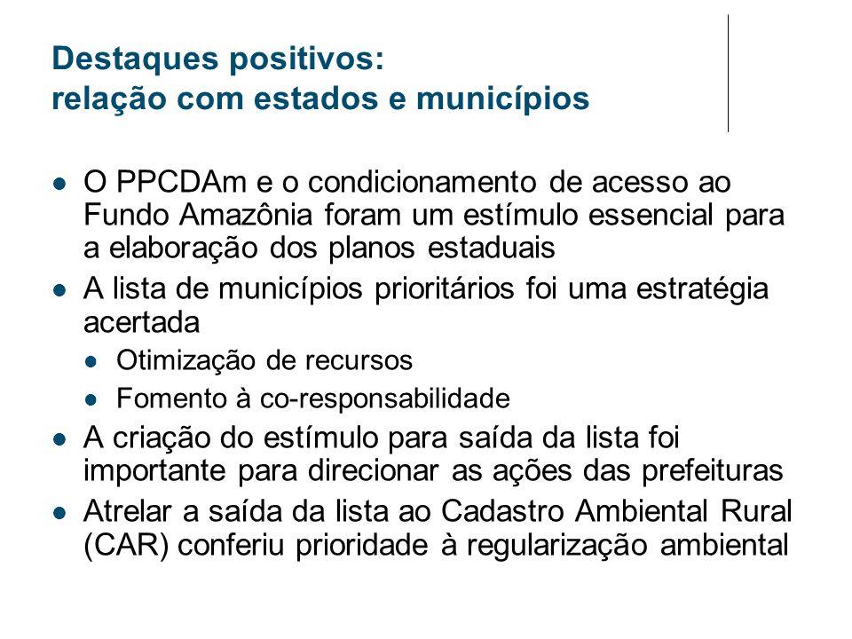 Destaques positivos: relação com estados e municípios O PPCDAm e o condicionamento de acesso ao Fundo Amazônia foram um estímulo essencial para a elab