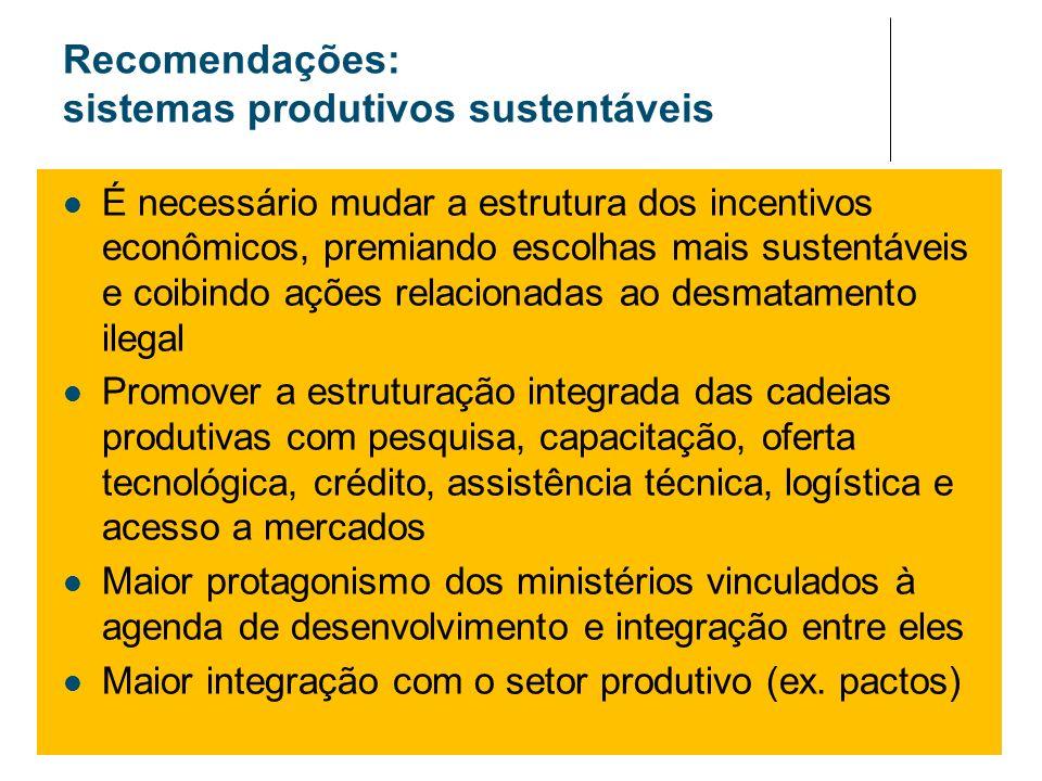Recomendações: sistemas produtivos sustentáveis É necessário mudar a estrutura dos incentivos econômicos, premiando escolhas mais sustentáveis e coibi