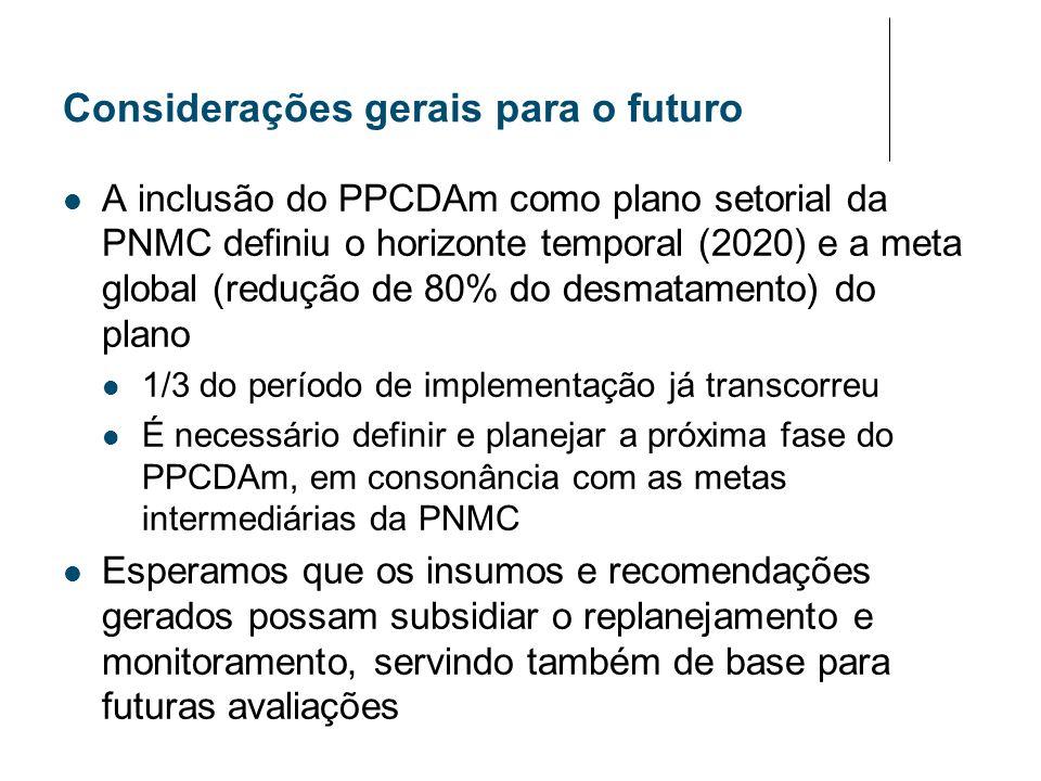 Considerações gerais para o futuro A inclusão do PPCDAm como plano setorial da PNMC definiu o horizonte temporal (2020) e a meta global (redução de 80