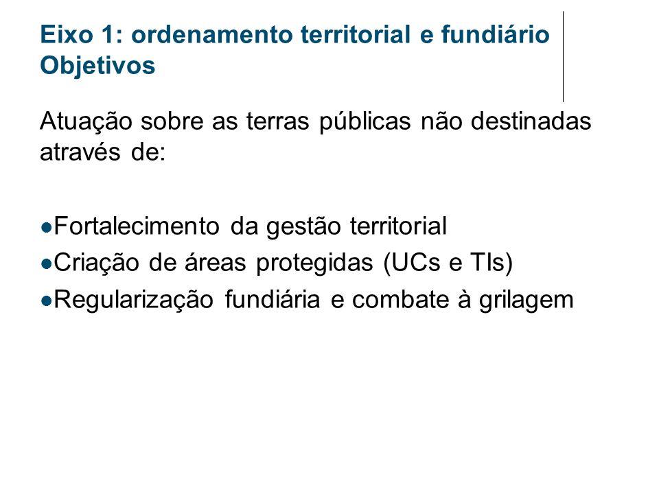Eixo 1: ordenamento territorial e fundiário Objetivos Atuação sobre as terras públicas não destinadas através de: Fortalecimento da gestão territorial