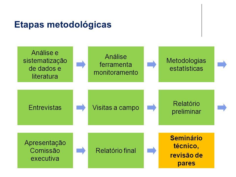 Etapas metodológicas Análise e sistematização de dados e literatura Análise ferramenta monitoramento Metodologias estatísticas EntrevistasVisitas a ca